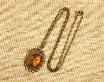 Amber Filigree Pendant - Vintage Brass Oval Topaz Glass Necklace