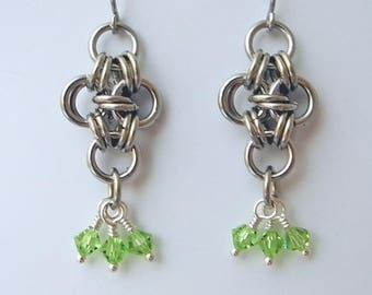 Japanese Cross Chain Maille Earrings, Chain Mail Jewelry, Green Swarovski Crystal Earrings,  Chain Maille, Stainless Steel Jewelry