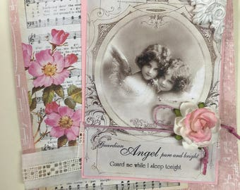 ON RESERVE  ~~~ FOR R. ~~~~~~~Guardian Angels ~~~  Petal Pink ~~~  Caring Sentiments Greeting~~~