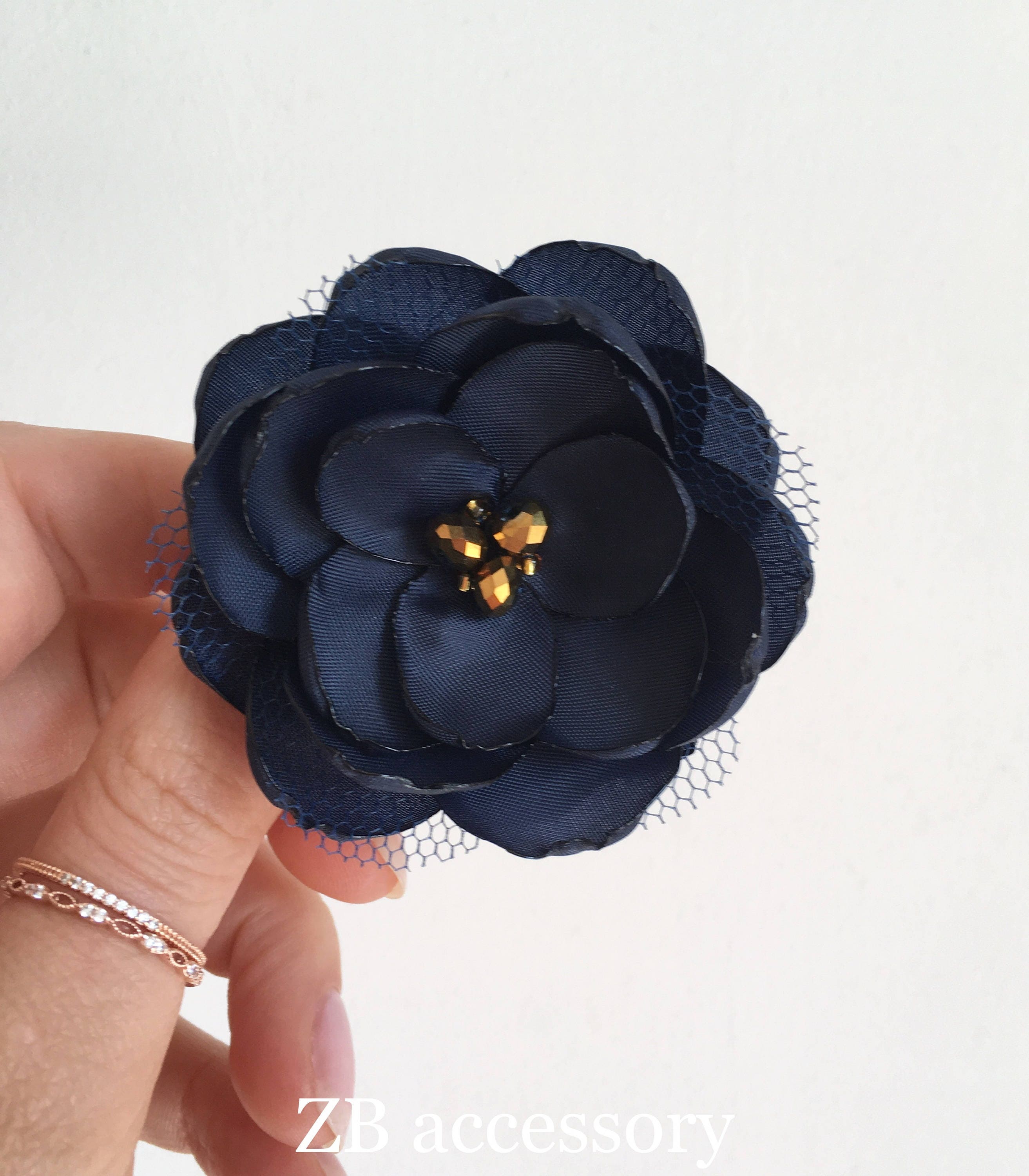 Navy blue gold fabric flower hair clip handmade wedding accessory navy blue gold fabric flower hair clip handmade wedding accessory flower with crystals leaf izmirmasajfo