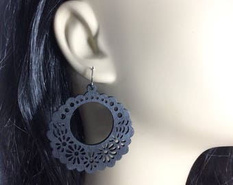 Wooden Filigree Earrings Black Filigree Earrings Black Jewelry Big Filigree Earrings Halloween Earrings Light Earrings Boho Earrings