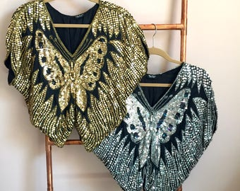 Vintage sequin butterfly tunic top size small/medium , Gold, Silver,  80s sequin top fancy disco embellished blouse 1980s