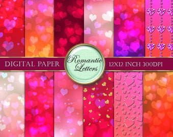 Valentine heart bokeh digital scrapbook paper love Valentine digital paper red light digital photography overlay background digital backdrop