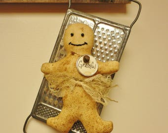 Primitive Gingerbread Man on Vintage Grater, Country Farmhouse Kitchen Decor, Christmas Decor, Gingerbread Ornaments