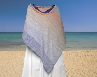 Poncho Multicolor. Handwoven. 100% cotton. Summer Wrap. Trendy poncho. Accessory. OOAK