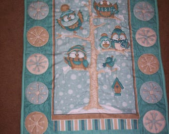Hand Quilted, Flannel, Owl & Snowflakes Wall Hanging