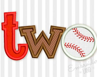 Two Baseball Ball Birthday Applique Embroidery Design 4x4 5x7 6x10 hoop SP016