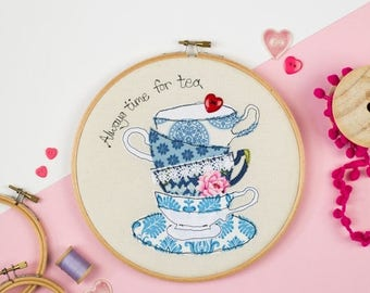 ON SALE Tea time home decor - Gift for Tea lover - Kitchen art - Teacup embroidery hoop wall - Tea lover art - Always time for tea