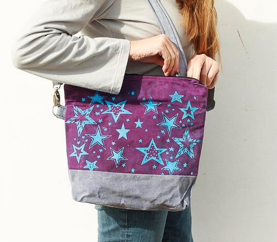 Waxed Canvas Beatnik Bag in Black Cherry and Stone Grey, Star Print, Screen Printed Handmade Crossbody Handbag