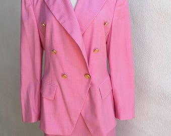 Vintage hot pink white  checker Escada suit double breasted sz 40 pencil skirt sz 42