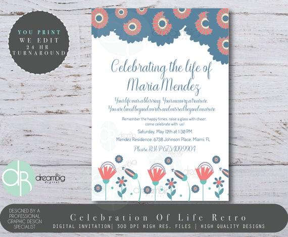 Celebration of Life Floral Invitation Floral Retro Invite Funeral
