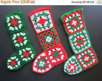 ON SALE Vintage Crochet Stockings // Retro Set of Three 3 Christmas Stockings Handmade Yarn Afghan Style Red Green White Kitsch Retro Holida