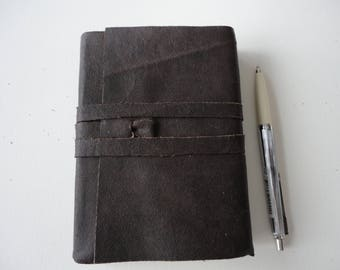 Ancient Look Dark brown leather notebook A6