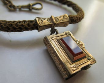 Antique Victorian Hair Chain Sliding Book Locket - Victorian Mourning Jewelry - Memorial Locket - Hair Locket - Picture Locket - Memento
