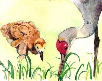ACEO Original in watercolor - Crystal clear day, Sandhill cranes, Bird painting, Small gift idea for bird lovers, Home decor idea