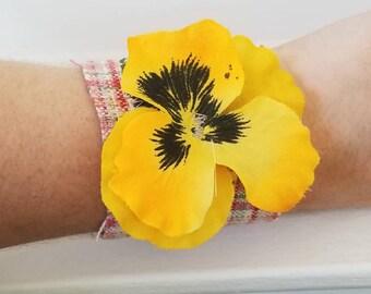 Boho Fabric Floral Cuff