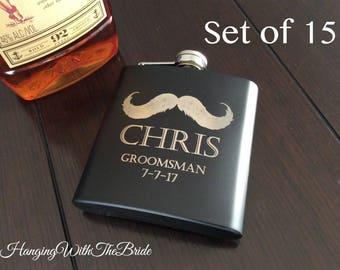 personalized flask, customize flask, groomsmen gift, groomsmen flask set, gifts for groomsmen, monogram flask, mustache, flask, best man