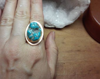 Handmade Turquoise and Bronze Ring with Sterling Silver Band