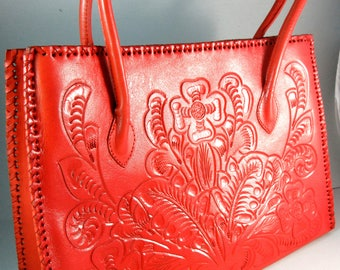 Guadalajara Mexican~Large~ORANGE~~Hand Tooled  Leather Western/Mexican Leather Tote