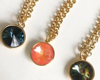 Green Crystal Pendant Necklace, Swarovski Necklace, Swarovsk Orange Gold Bridal Necklace, Blue Swarovski  Bridal Necklace