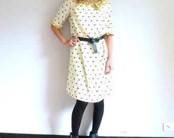 Trapeze dress in crepe de chine ivory and gold