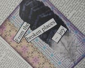 """ACEO ATC one-of-a-kind Original """"From the Broken Places - Joy"""" Artist Trading Card"""
