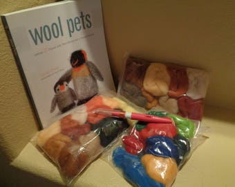 Little Felted Animals  Needle Felting Book with Wool Roving  and Needles