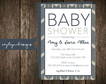 Tan and Navy Blue Baby Shower Invitation | Arrow Detail | White Background with Navy and Tan Accents | Printable File