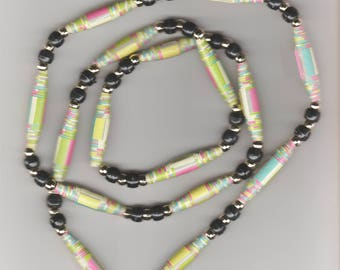 1 Only Handmade Rolled Paper Bead Necklace with Round gold beads, Black Pony Beads
