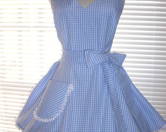 Costume Apron Blue and White Gingham Check Retro Inspired Full Circular Skirt - Ready to Ship