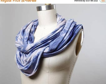 ON SALE Hand Dyed  Scarf - Tie Dyed Scarf - Teal Blue Rayon Scarf - Women's Scarf - Tie Dyed