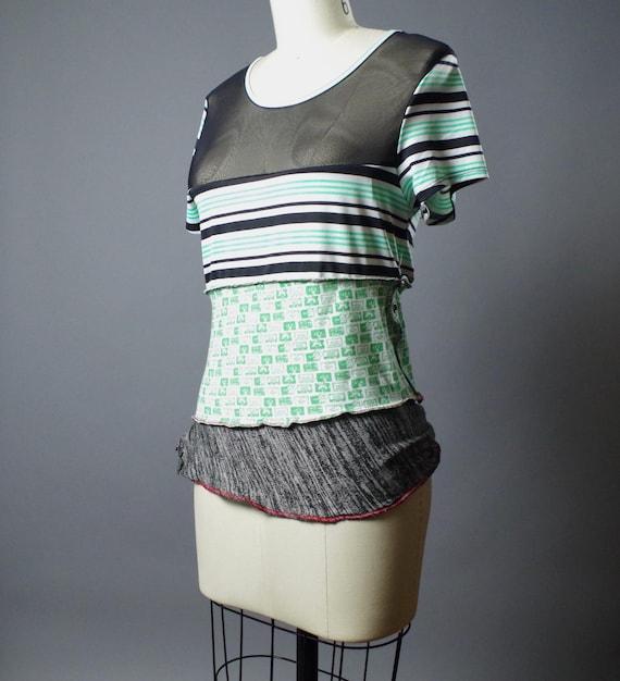 Funky Striped Tee - OOAK Top T-shirt - Street wear - Women's tee - Street Fashion - Cassette