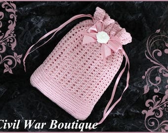 Civil War Victorian Bridal Dusty Rose Pink Hand Crochet drawstring RETICULE PURSE with Pearls and Rose