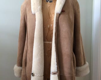 Women's Vintage Clothing / Ardney Shearling Coat / Vintage Sheepskin 3/4 Length Coat