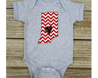 SALE Indiana Love Red Baby Toddler Children Kids Boy Girl T-shirt or Bodysuit - Your Choice of Any State and Colors - White, Grey, Blue, or