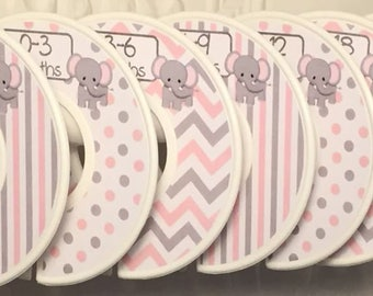Custom Baby Closet Clothes Dividers Organizers in Light Pink Grey Elephants Chevrons Dots Stripes CD Girl Baby Shower Nursery Gift