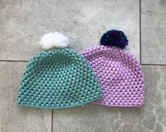 Crochet Hat with Pom Pom - Adult Medium - One Size Fits Most