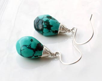Natural Turquoise Earrings, Sterling Silver wire wrap, blue gemstone, genuine turquoise, holiday gift for her, December birthstone, 4221