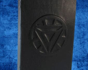 Iron Man Arc Reactor -  Hand Bound Black Leather Journal or Sketchbook