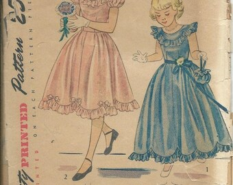 25% OFF 1948 Simplicity 2685 Sewing pattern Girls Size 7 Ruffled Dress in Two Lengths