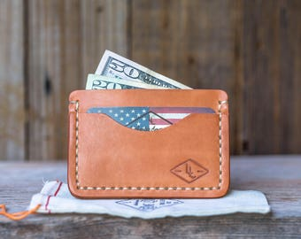 Leather Minimalist Wallet HAND SEWN in USA Leather Business Card Holder Leather Men's Wallet Gift for Him Groomsmen Gift Lifetime Leather Co