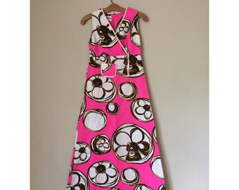 60s Hawaiian dayglo pink and brown dress