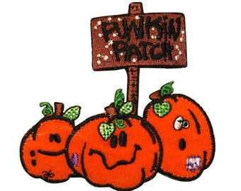 ID 0830 Pumpkin Patch Autumn Fall Halloween Season Embroidered Iron On Applique