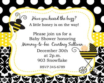 50 Bee Bumblebee Baby Shower invitations with envelopes -little honey- ANY COLORS