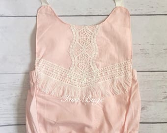 Baby girl outfit-baby girl clothes-baby romper-pink bubble romper-newborn girl photo outfit-vintage pink romper-fringe boho baby romper
