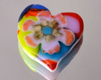 Heart Tile, Mosaic Tile, Fused Heart Tile, Multiple Bright Colors, Unique Flower Tile, Handmade Glass Tile, Just Because Gift