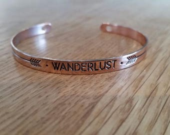 Rose Gold Wonderlust Cuff Bracelet/Bangle/Round Wonderlust Bracelet/ Rose Gold Bracelet