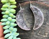 SILVER dipped Quartz crystal MOON earrings // dangle earrings