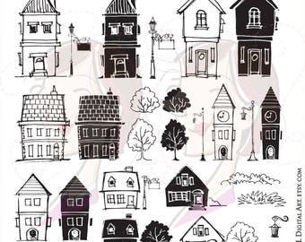 Back To School Doodle Clipart House Silhouette Clip Art Hand Drawn Doodles City Lamp Post Sign Teacher Classroom Supplies Commercial 10359