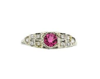 Pink Tourmaline and Diamond Ring; Tourmaline Ring; Pink Tourmaline Ring; Pink Tourmaline and Diamond; Cocktail Ring